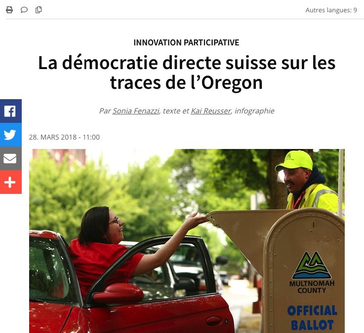 """""""La démocratie directe suisse sur les traces de l'Oregon"""""""