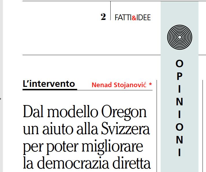 """""""Dal modello Oregon un aiuto alla Svizzera per poter migliorare la democrazia diretta"""""""