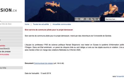 """""""Sion servira de commune pilote pour le projet demoscan"""""""