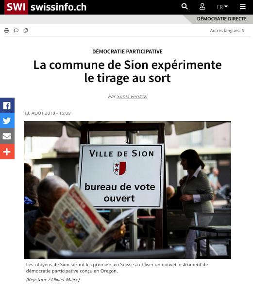 """""""La commune de Sion expérimente le tirage au sort"""""""